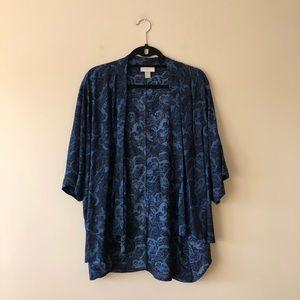 LOFT blue/black printed kimono style top
